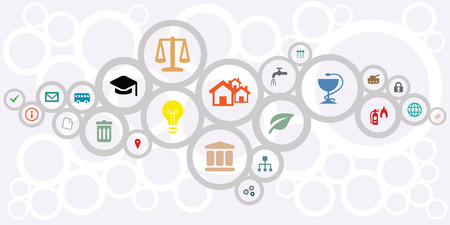 Illustration pour vector illustration of public service icons for managing and city administration concepts in circles network shape design - image libre de droit