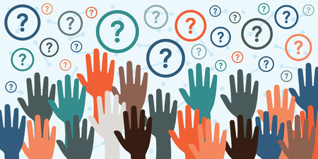 Illustration pour vector illustration with raised hands and question marks for consultancy and question sessions concepts - image libre de droit