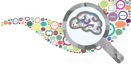 Ilustración de vector illustration of speech bubbles and brain in magnifier for new ideas born in discussion concept - Imagen libre de derechos