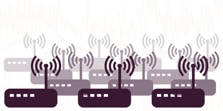 Ilustración de vector illustration of modems and routers sending many wireless signals for network connection visuals - Imagen libre de derechos
