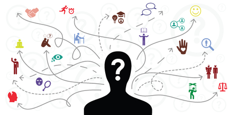 Illustrazione per vector illustration of person silhouette and arrows for different life activities selection and preferences - Immagini Royalty Free