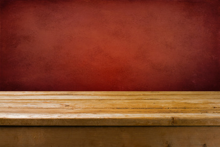 Photo for Background with wooden table and red grunge wall - Royalty Free Image