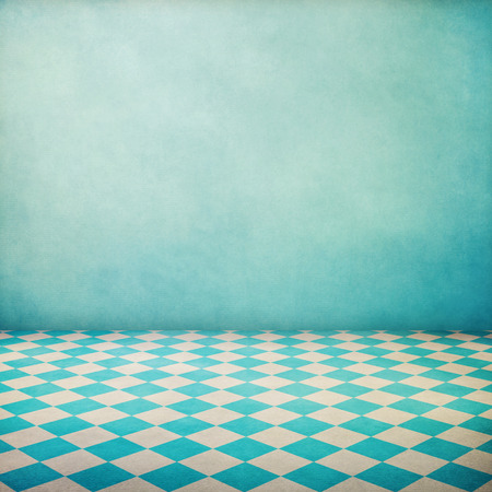 Photo pour Vintage interior grunge background with checked floor and blue wallpaper - image libre de droit