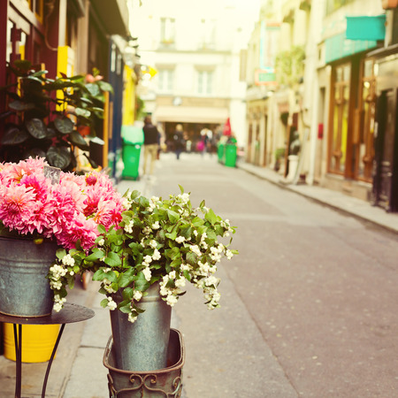 Photo pour Flowers on street of Paris, France - image libre de droit