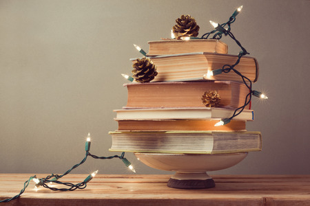 Photo pour Christmas tree made from books. Alternative Christmas tree - image libre de droit