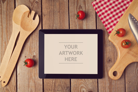 Photo for Tablet mock up template with cooking utensil. View from above - Royalty Free Image