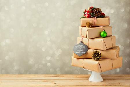 Photo for Christmas tree made from gft boxes. Alternative Christmas tree - Royalty Free Image