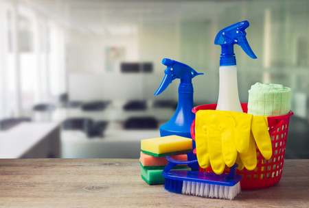 Photo pour Office cleaning service concept with supplies - image libre de droit