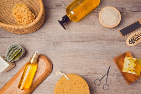 Photo pour Spa background with soup and oil. View from above. Flat lay - image libre de droit
