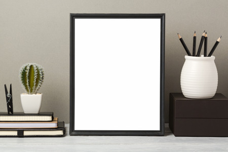 Photo pour Black frame mock up with pencil and notebook. Modern stylish interior background for social media and marketing. - image libre de droit