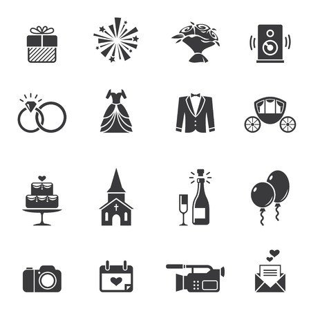Photo pour Black wedding icons - image libre de droit