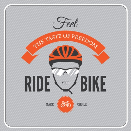 Illustration pour Cycling motivational poster with cycling helmet and glasses - image libre de droit