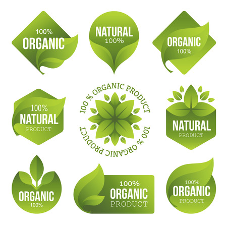 Illustration pour Green Organic Products Labels - image libre de droit