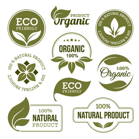 Illustration for Green Organic Products Labels - Royalty Free Image