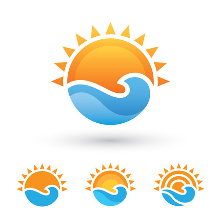 Illustration for Sun and sea symbol - Royalty Free Image