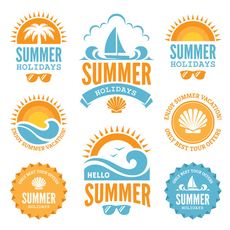 Ilustración de Blue and Orange Summer Holidays Labels - Imagen libre de derechos