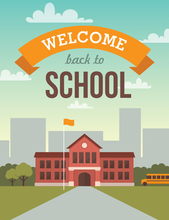 Photo pour Bright flat illustration of school building for back to school banner or poster design - image libre de droit