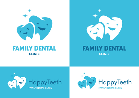 Illustration pour  with two big and small teeth with cute faces for family dental clinic on white and blue backgrounds - image libre de droit