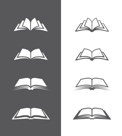 Ilustración de Set of open book icons  isolated on black and white backgrounds. Can be used for bookstore or shop, library, educational or learning concept etc. - Imagen libre de derechos