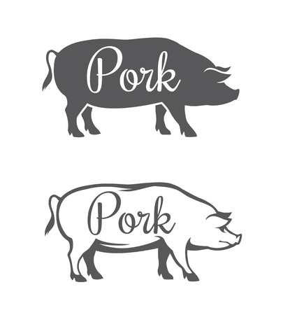 Ilustración de Black pig silhouette and outline illustration for pork meat or butcher shop isolated on white background - Imagen libre de derechos