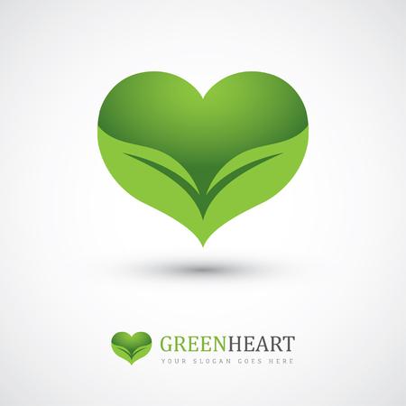 Ilustración de Green vector icon with heart shape and two leaves. Can be used for eco, vegan, herbal healthcare or nature care concept logo design - Imagen libre de derechos