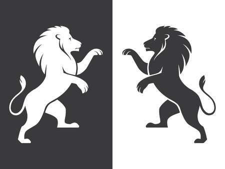 Illustration for Two heraldic rampant lion silhouettes in black and white colors. Coat of arms. Heraldry logo design element. - Royalty Free Image