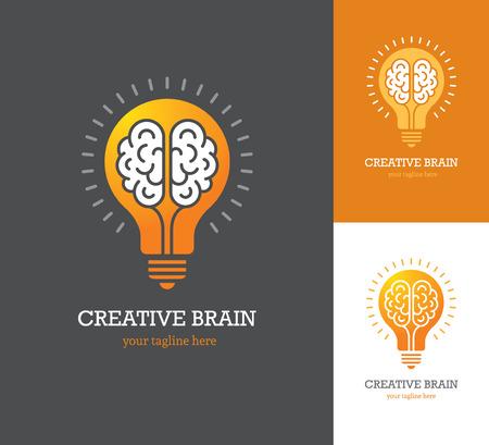 Illustration pour Bright logo with linear brain icon inside a light bulb. Symbol of creative idea, mind, thinking. - image libre de droit