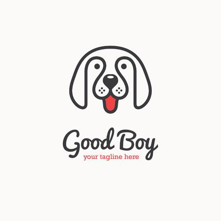 Cute happy dog face logo.