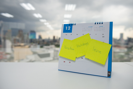 Photo pour Vacation, holiday and leave on paper note stick on the calendar of December for year end holidays concept - image libre de droit