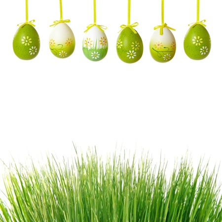 green grass and easter eggs