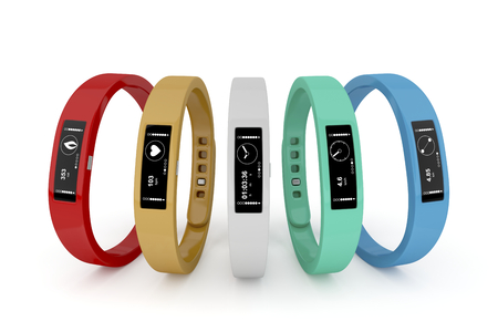 Photo pour Five fitness trackers with different interfaces and colors  - image libre de droit