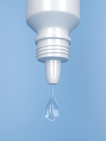 Foto de Droplet from white plastic eye drop container - Imagen libre de derechos