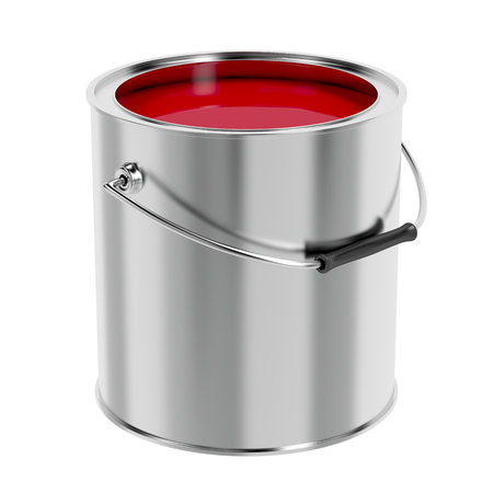 Foto de Canister with red paint isolated on white background - Imagen libre de derechos