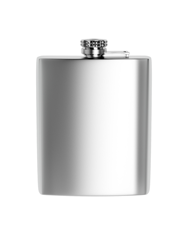 Foto de Front view of stainless steel hip flask, isolated on white background  - Imagen libre de derechos