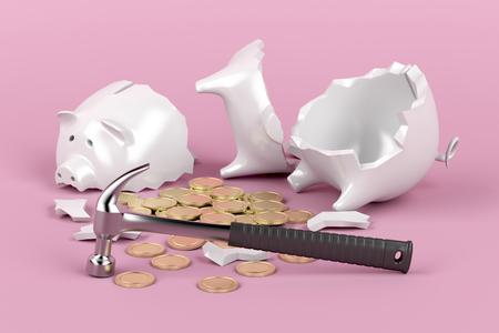 Foto de Broken piggy bank with hammer on pink background - Imagen libre de derechos