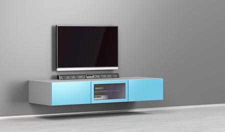 Foto de Big led tv with soundbar in the living room - Imagen libre de derechos