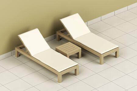 Foto de Wooden sun loungers and table in the spa center - Imagen libre de derechos