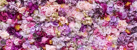 Photo for Flower texture background for wedding scene. Roses, peonies and hydrangeas, artificial flowers on the wall. Banner fow website. - Royalty Free Image