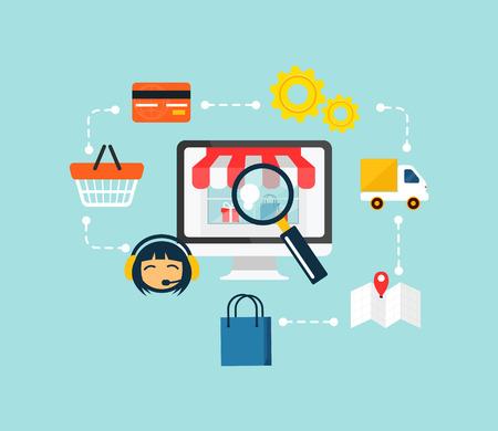 Illustration pour Stock vector e commerce online shopping icon set - image libre de droit