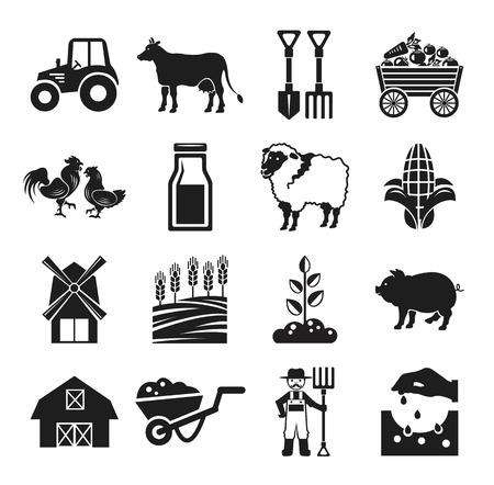 Ilustración de Stock vector pictogram farm black icon set - Imagen libre de derechos