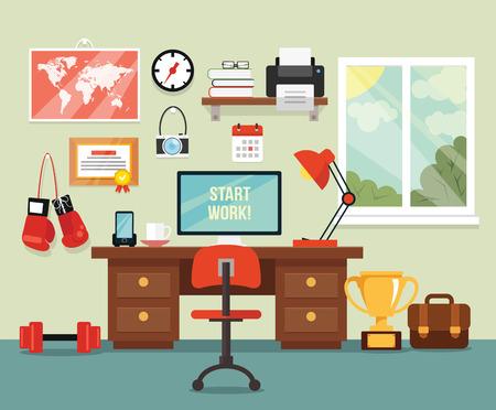 Illustration pour Workplace in room. Vector flat illustration - image libre de droit