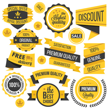 Illustration pour Yellow badges,ribbons and labels set - image libre de droit