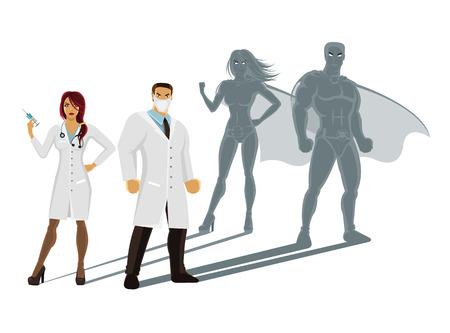 Illustrazione per Professional doctors superheroes - Immagini Royalty Free