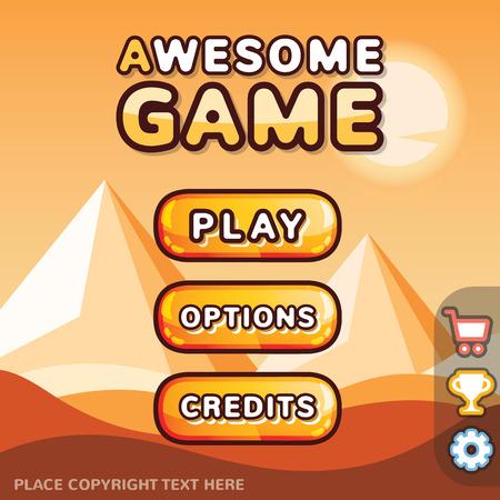 Illustration pour Main menu game interface kit. Creative ui templates for web mobile and computer video games. Desert level concept - image libre de droit