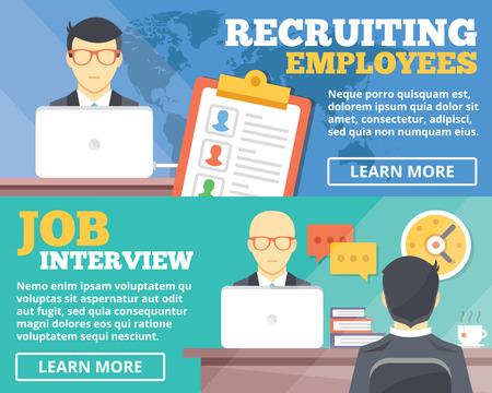 Illustration pour Recruiting employees job interview flat illustration concepts set - image libre de droit