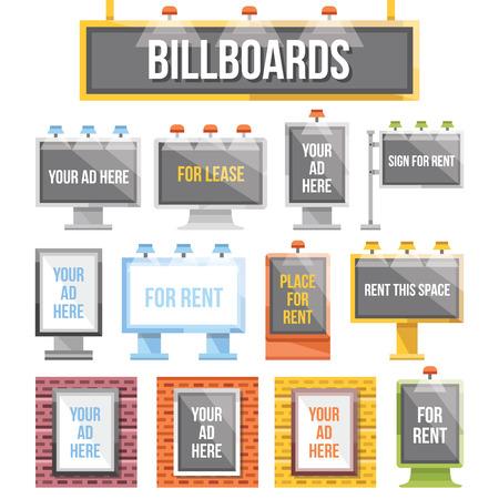 Illustration pour Trendy flat billboards outdoor advertising set - image libre de droit