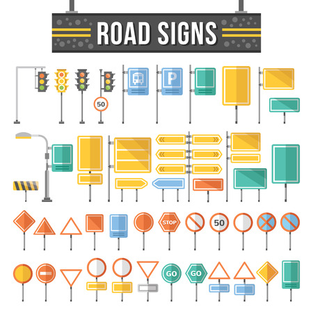 Illustration pour Flat road signs set. Traffic signs graphic elements. - image libre de droit