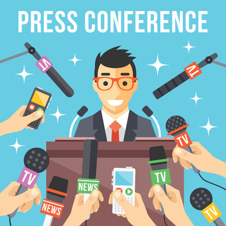 Illustration for Press conference. Live report live news concept - Royalty Free Image
