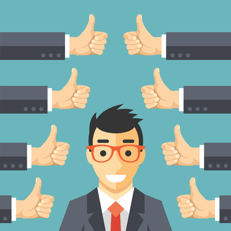 Illustration pour Happy businessman and many hands with thumbs up. Likes and positive feedback concept - image libre de droit