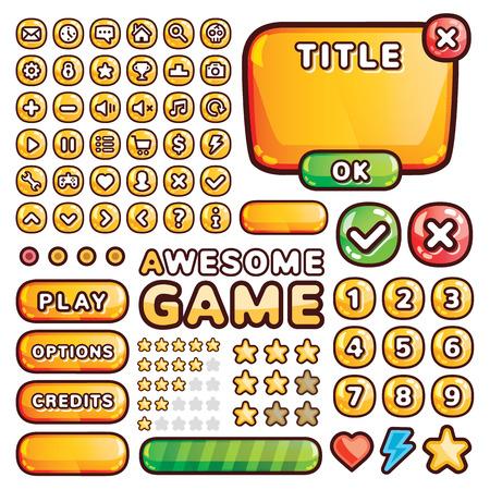Illustration pour Interface elements for web and mobile games and apps - image libre de droit